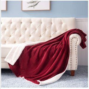 Fleece Blanket Throw Size Red Plush Blanket